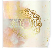 Grounded pink and white hand drawn mandala Poster