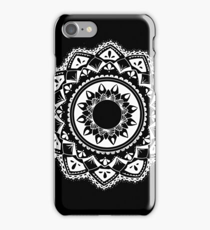Cellular black and white mandala iPhone Case/Skin
