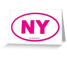 New York NY Euro Oval PINK Greeting Card