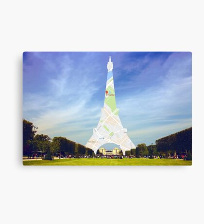 Maps eiffel Canvas Print