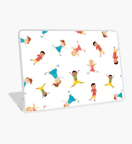 seamless pattern with cartoon kids,white background, Laptop Skin