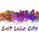 Salt Lake City skyline in watercolor by paulrommer
