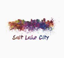 Salt Lake City skyline in watercolor Baby Tee