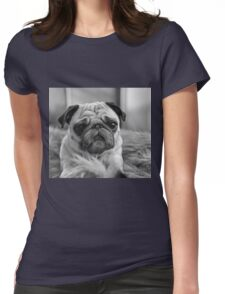 Black and White Pug Womens Fitted T-Shirt