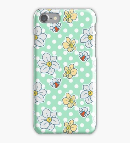 Polk-a-dot Daffodil Pattern iPhone Case/Skin