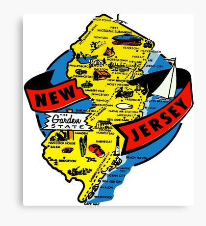 New Jersey State Map Vintage Travel Decal Canvas Print