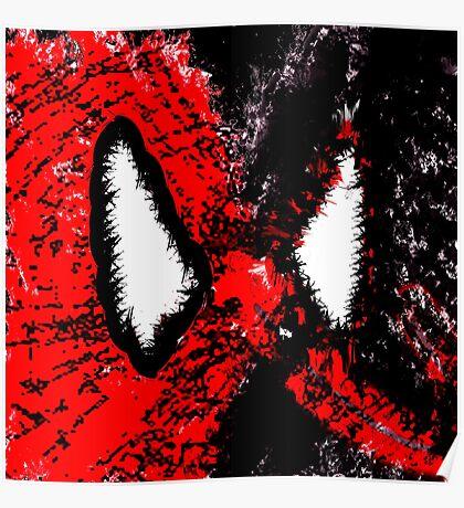 Spider Man & Venom Splatter Art Poster