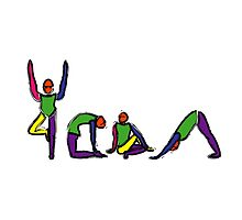 Painting of yoga poses spelling YOGA. by Mindful-Designs