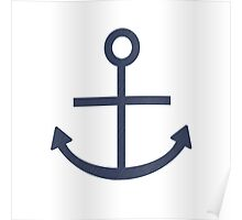 Rustic Navy Blue Ship Anchor Poster