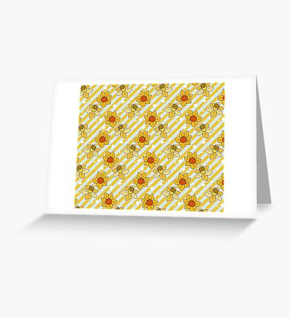 Daffodils Striped Pattern Greeting Card