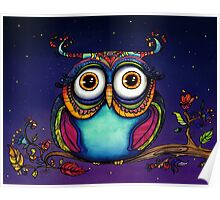 Colorful Night Owl in Tree Watercolor Painting Poster