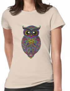Skull Owl Womens Fitted T-Shirt