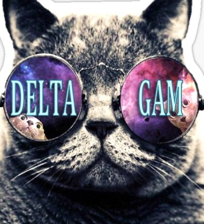 Delta Gam Hipster Cat Sticker