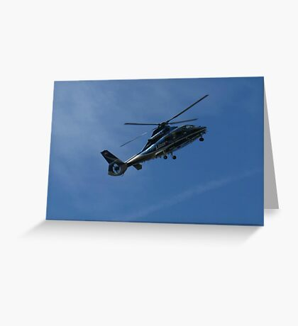 Helicopter on Blue, Chopper Greeting Card