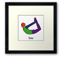 Painting of bow yoga pose with Sanskrit text. Framed Print