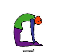 Painting of camel yoga pose with Sanskrit text. by Mindful-Designs