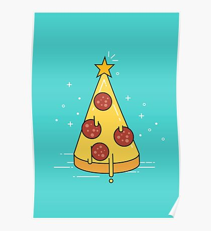 Christmas tree pizza. Poster