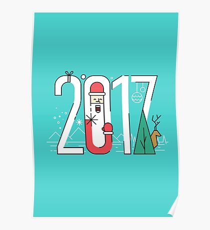 2017 with Santa and Reindeer. Poster