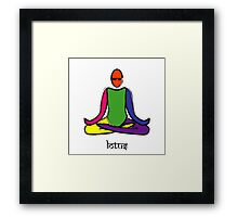 Painting of lotus yoga pose with Sanskrit text. Framed Print