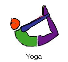 Painting of bow yoga pose with yoga text. Photographic Print