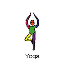 Painting of tree yoga pose with yoga text. by Mindful-Designs