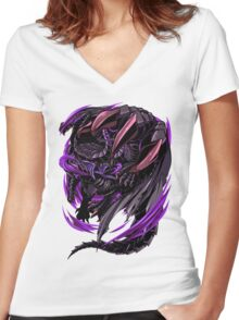 Black Eclipse Wyvern Women's Fitted V-Neck T-Shirt