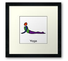 Painting of cobra yoga pose with yoga text. Framed Print