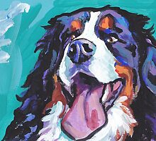Bernese Mountain Dog Bright colorful pop dog art by bentnotbroken11