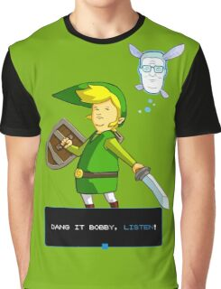 King of the Hill - Link from Zelda and Navi - Parody - Dang it Bobby, listen! Graphic T-Shirt