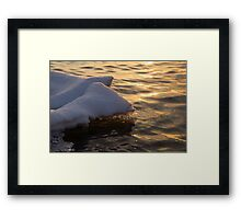 Happy Sunset Ice - the Icy Snowbanks Reflecting in the Lake Framed Print