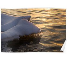 Happy Sunset Ice - the Icy Snowbanks Reflecting in the Lake Poster