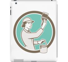 Female House Painter Paintbrush Circle Retro iPad Case/Skin