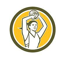 Netball Player Shooting Ball Circle Retro by patrimonio