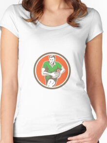 Rugby Player Running Ball Circle Retro Women's Fitted Scoop T-Shirt