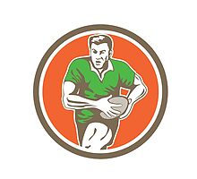 Rugby Player Running Ball Circle Retro by patrimonio