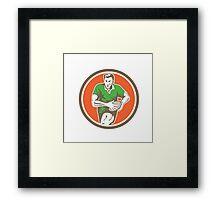 Rugby Player Running Ball Circle Retro Framed Print