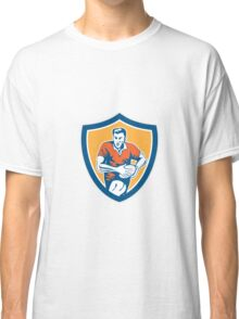 Rugby Player Running Ball Shield Retro Classic T-Shirt