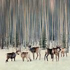 Caribou and trees by Priska Wettstein