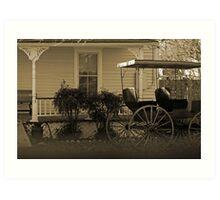 Old house and wagon Art Print
