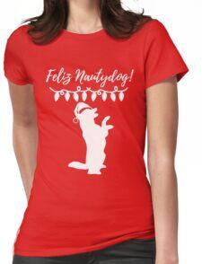 Feliz Naughtydog Christmas Dog Womens Fitted T-Shirt