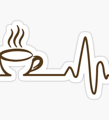 Coffee Heartbeat T-Shirt, Funny Coffee Lovers Gift Shirt Sticker