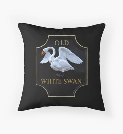 Old White Swan Pub Sign Throw Pillow