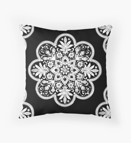 Floral Doily Pattern   Black and White Throw Pillow