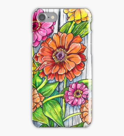 Zinnias by the Fence iPhone Case/Skin