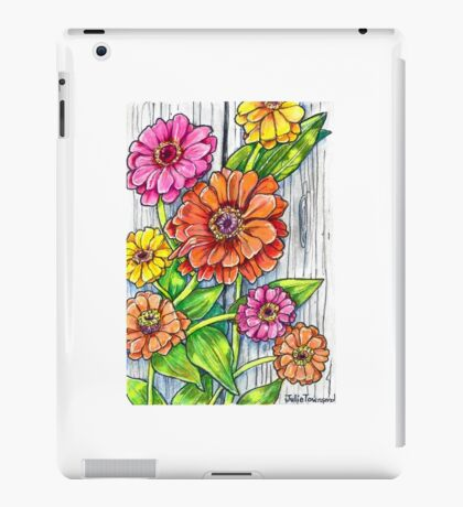 Zinnias by the Fence iPad Case/Skin