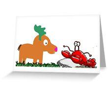 Moose Meets Crab Greeting Card