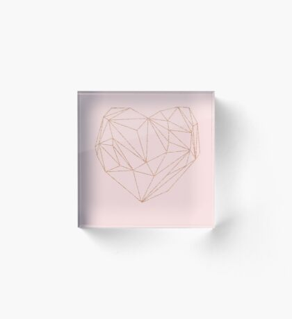 Rose gold geometric heart Acrylic Block