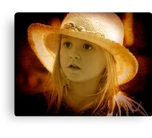 A little girl at the Markets Canvas Print