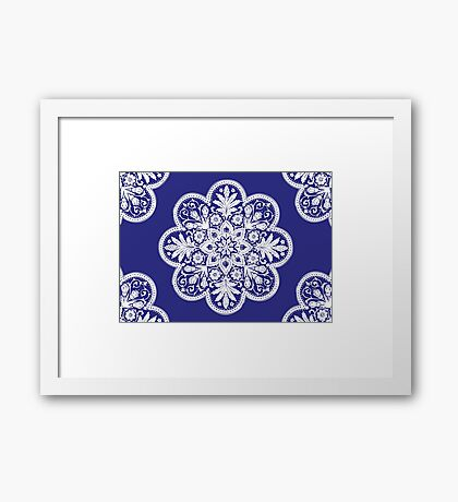 Floral Doily Pattern   Navy Blue and White Framed Print
