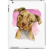 Pit Bull Dog with a Head Tilt Watercolor Painting iPad Case/Skin